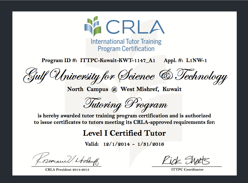 Ssc Tutoring Center Receives Crla Accreditation Gust